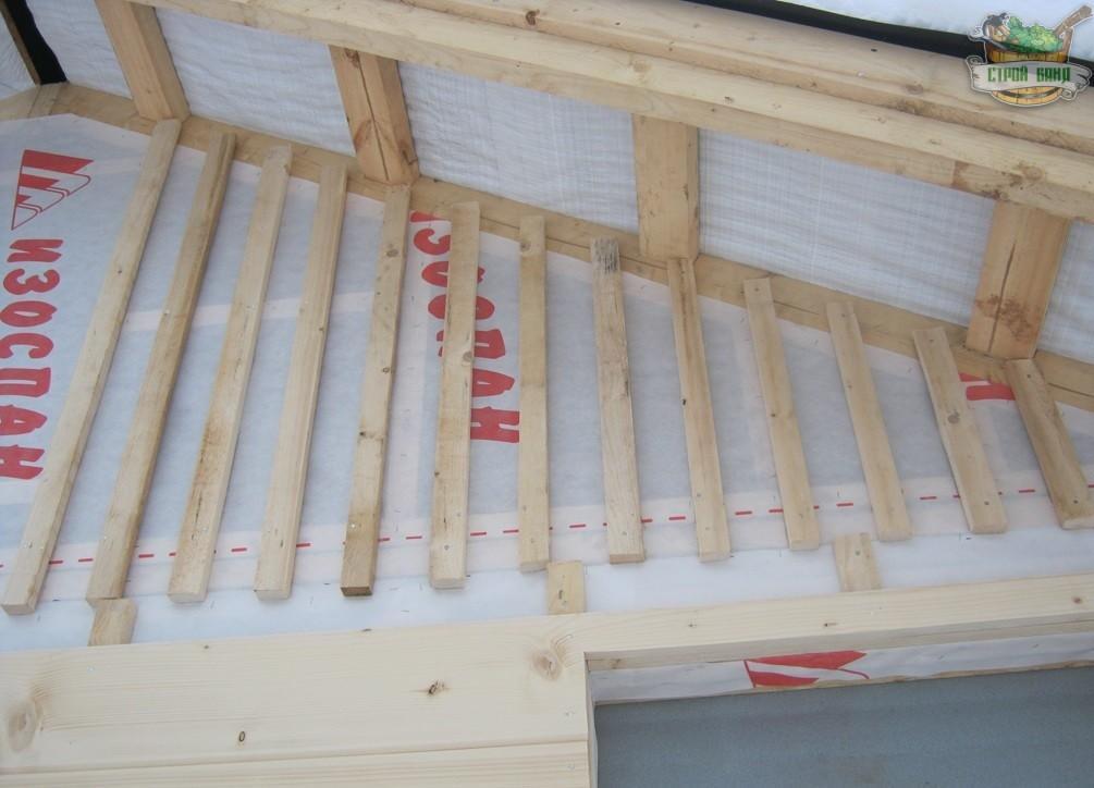 Монтаж реек на фронтонах каркасной бани