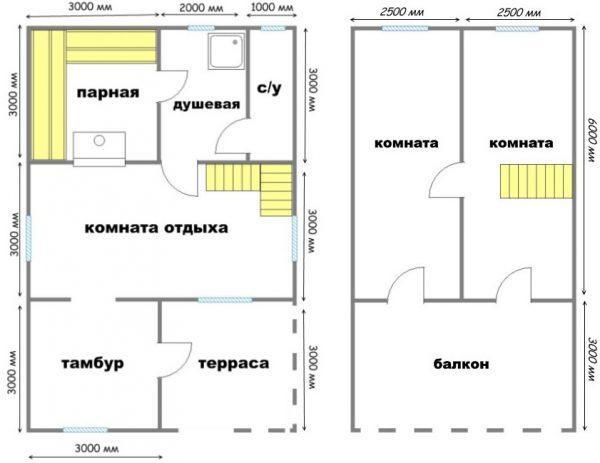 Баня с раздельным санузлом и двумя спальнями