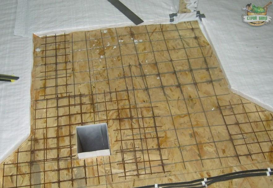 Армирование плиты под печь