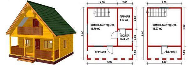 Компактная баня стандартной планировки